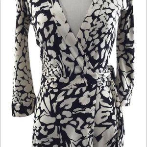 DVF Black/White Celeste Feather Leopard Romper